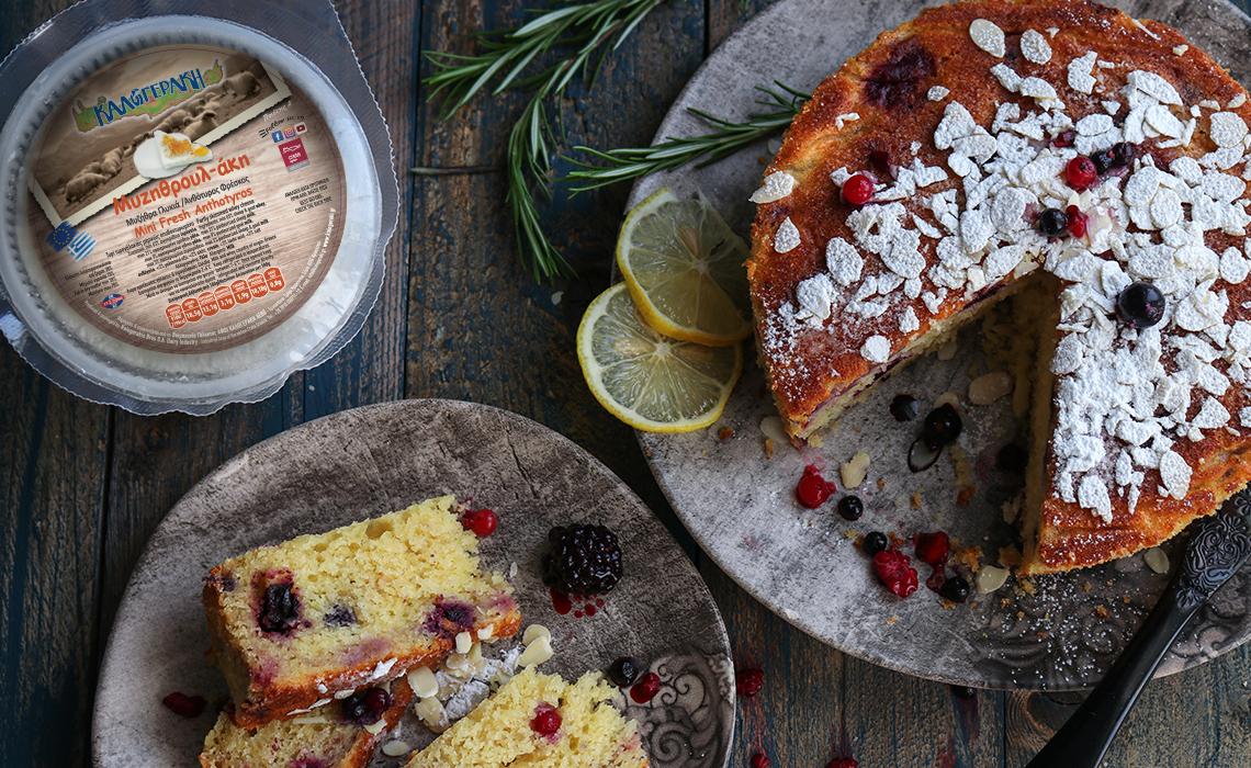 Κέικ με γλυκιά μυζήθρα και κόκκινα φρούτα