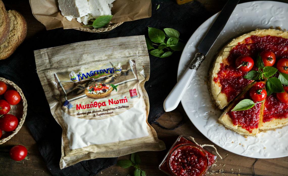 Αλμυρό cheesecake με Ξυνομυζήθρα Κρήτης Π.Ο.Π. και πικάντικη μαρμελάδα