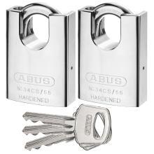 Λουκέτο Ατσάλινο κλειστού λαιμού ίδιο κλειδί ABUS 34CS/55 ΣΕΤ 2 τεμάχια