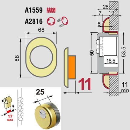 Ροζέτα ασφαλείας Defender Diamond, για θωρακισμένες πόρτες κυλίνδρου DISEC BKD250 | 3 χρώματα-1