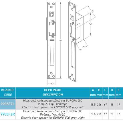Ηλεκτρικό Αντίκρυσμα Ρυθμιζόμενο με ON - OFF  DOMUS 9905FZ EUROPA 500 | Αριστερό ή Δεξί-1