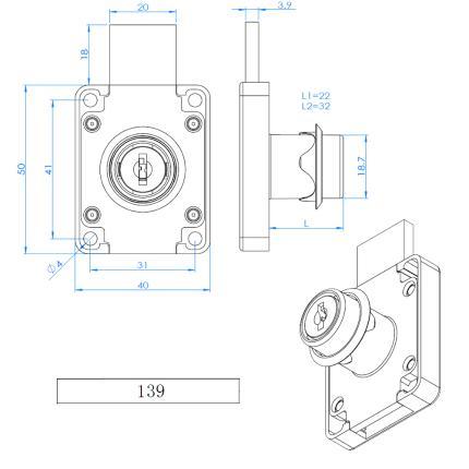 Κλειδαριά για συρτάρια & πόρτες επίπλων EVERGOOD ART 139 | 2 μεγέθη-2
