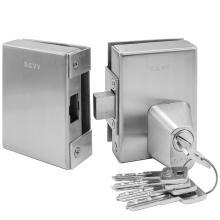 Κλειδαριά ασφαλείας γυάλινης πόρτας, με κύλινδρο & DEFENDER, πρόσθετη GEVY 118.057