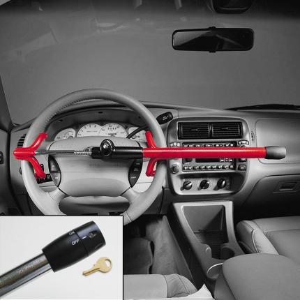 Κλειδαριά Μπαστούνι Αυτοκινήτου υψηλής ασφάλειας MASTER LOCK 263EURDAT με κόκκινο led φώς-1