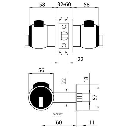 Κλειδαριά πομόλου με κλειδί για ξενοδοχειακές μονάδες ή γραφεία MERONI Nova N14 | 5 χρώματα-2