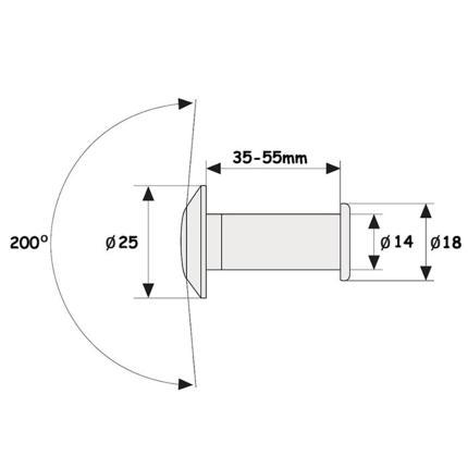 Ματάκια για όλες τις πόρτες PEDRET EVL 35 - 55mm | 2 χρώματα-1