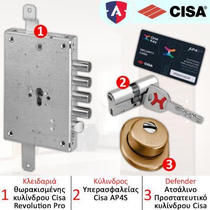 Κλειδαριά ασφαλείας θωρακισμένης CISA + Κύλινδρος (Αφαλός) ασφαλείας AP4S + CISA Defender 06490-0