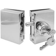 Κλειδαριά INOX ασφαλείας γυάλινης πόρτας, με κύλινδρο & αντίκρισμα πρόσθετη INAL 201.13