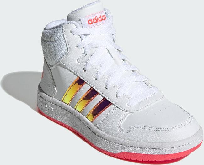 Κορίτσι μποτάκι ασπρο Adidas FW7610 HOOPS MID 2.0  K