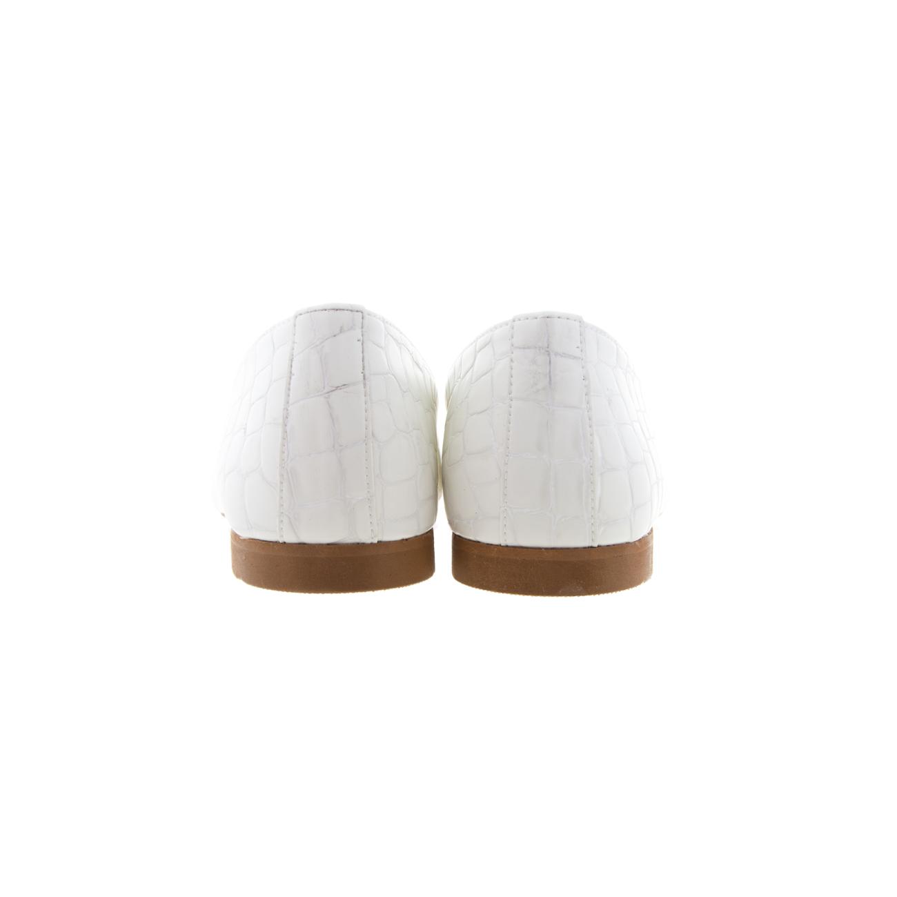 Μπαλαρίνες κροκό πατάκι δερμάτινο λευκό SANTE 20-114-09