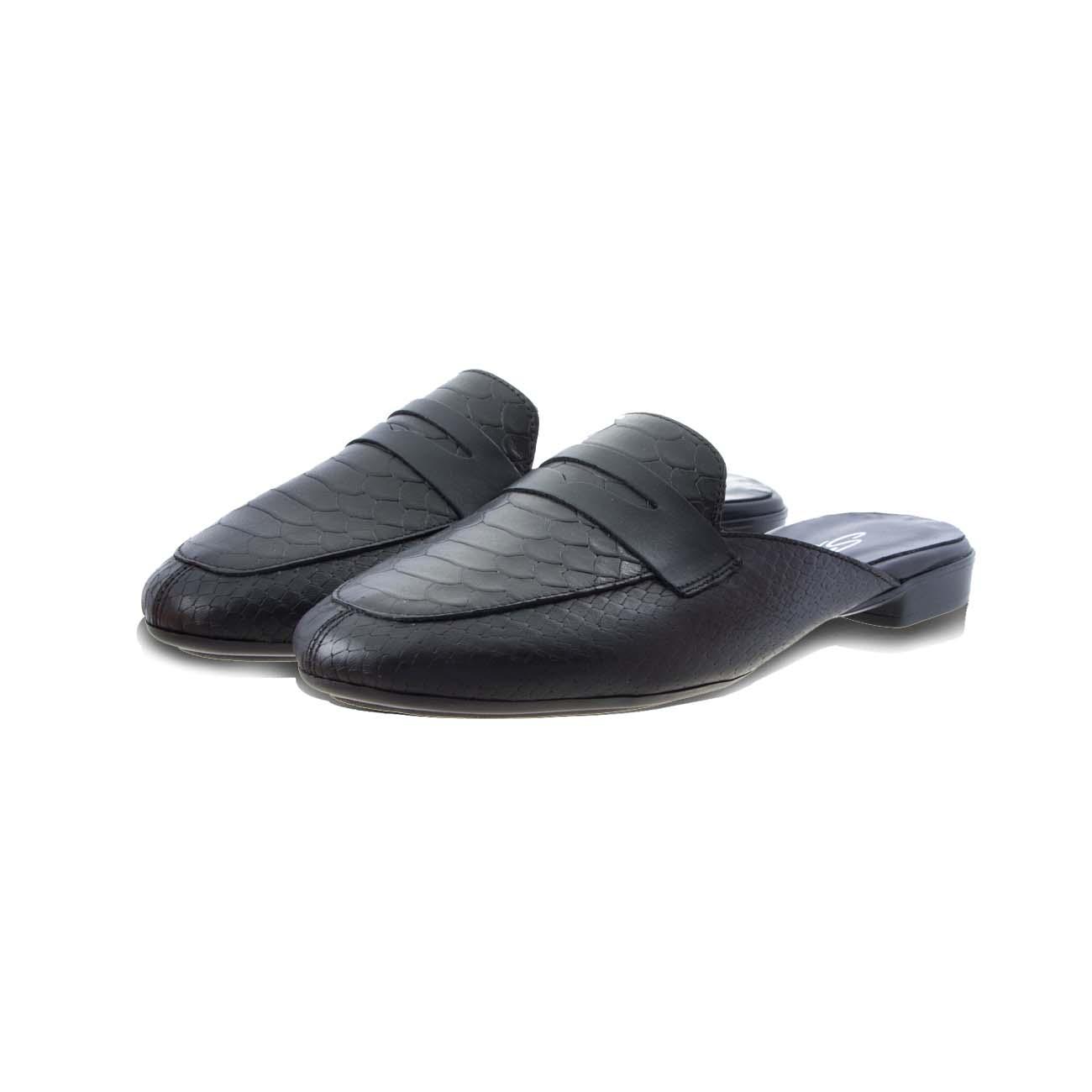 Mule μοκασίνια από δέρμα φίδι πατάκι δερμάτινο μαύρο SANTE 20-123-01