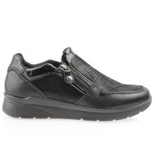 Γυναικείο δερμάτινο ανατομικό sneaker casual με φερμουάρ IMAC 607960
