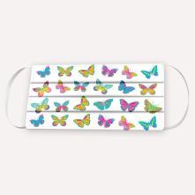 Κορίτσι μάσκα Πολύχρωμες Πεταλούδες Άσπρο