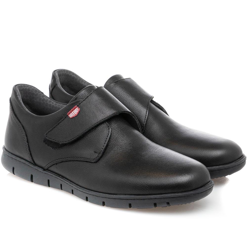 Ανδρικό δέρμα μαύρο σκράτς Velcro ON FOOOT 8902