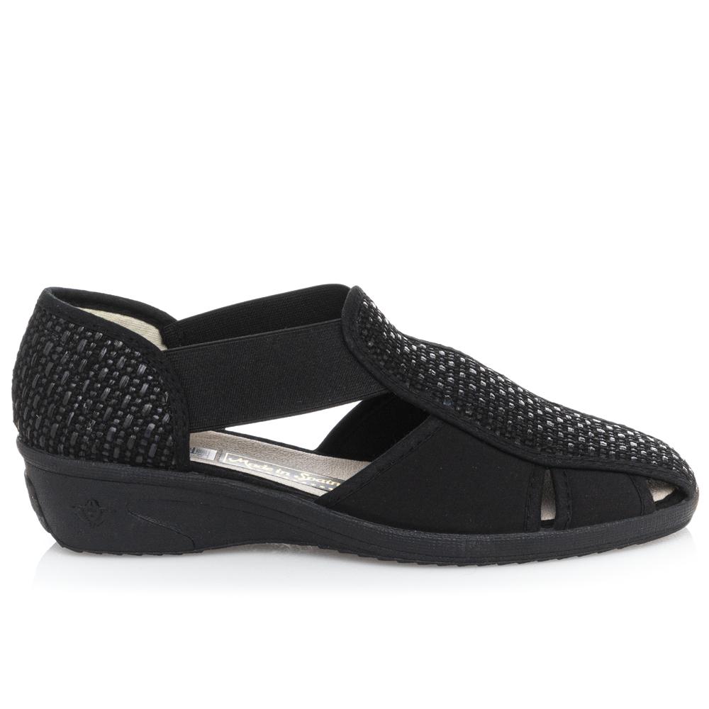 Γυναικέιο παπουτσοπέδιλο μαύρο Adams Shoes 1-624-21014-25