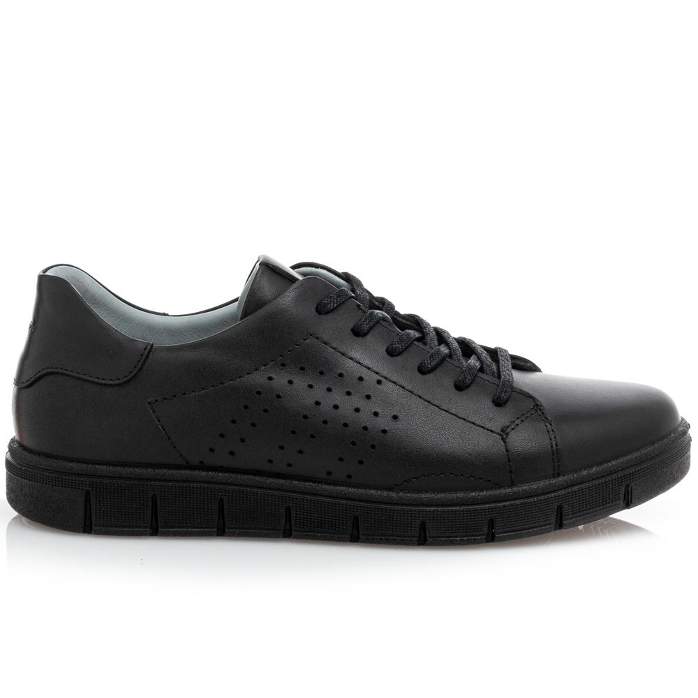 Ανδρικό Sneaker κορδόνι δέρμα μαύρο Boxer 19065 10-011
