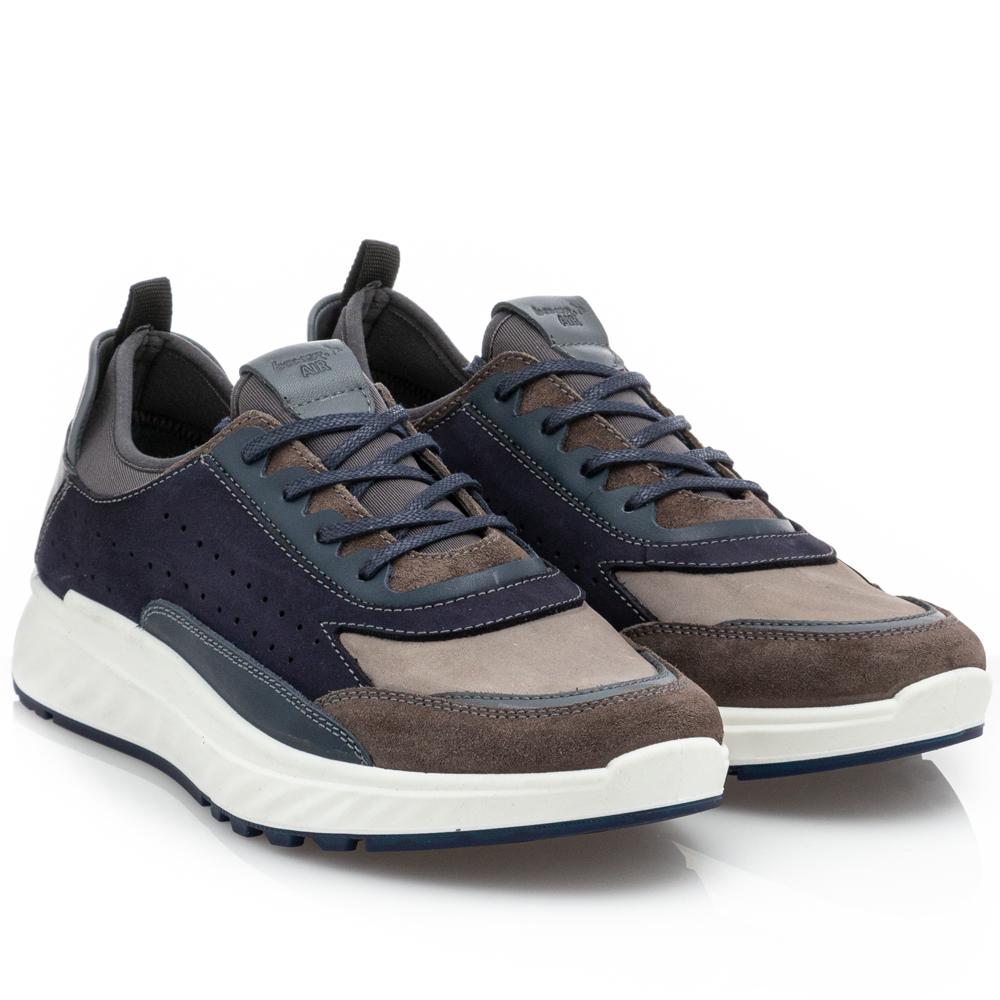 Ανδρικό κορδόνι δέρμα  μπλέ Sneaker 19068 29-016