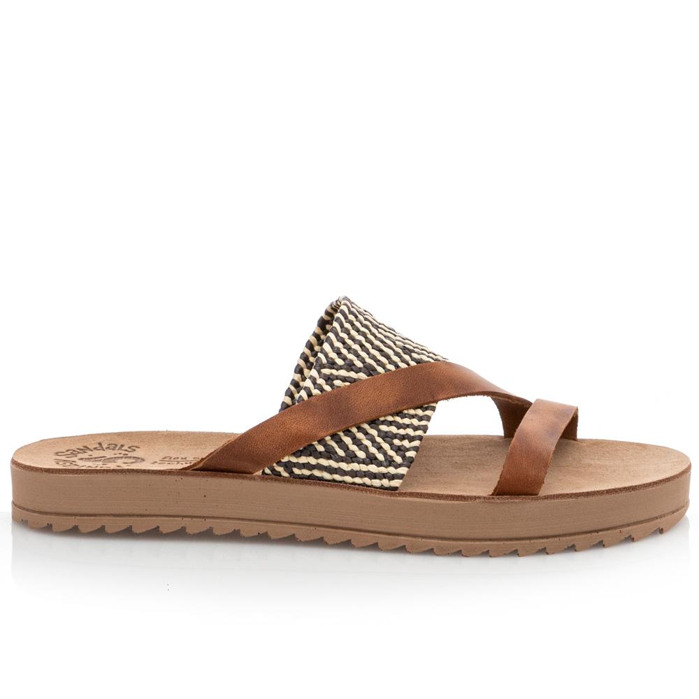 Γυναικείο σανδάλι δέρμα Taupe Fantasy Sandals S8021