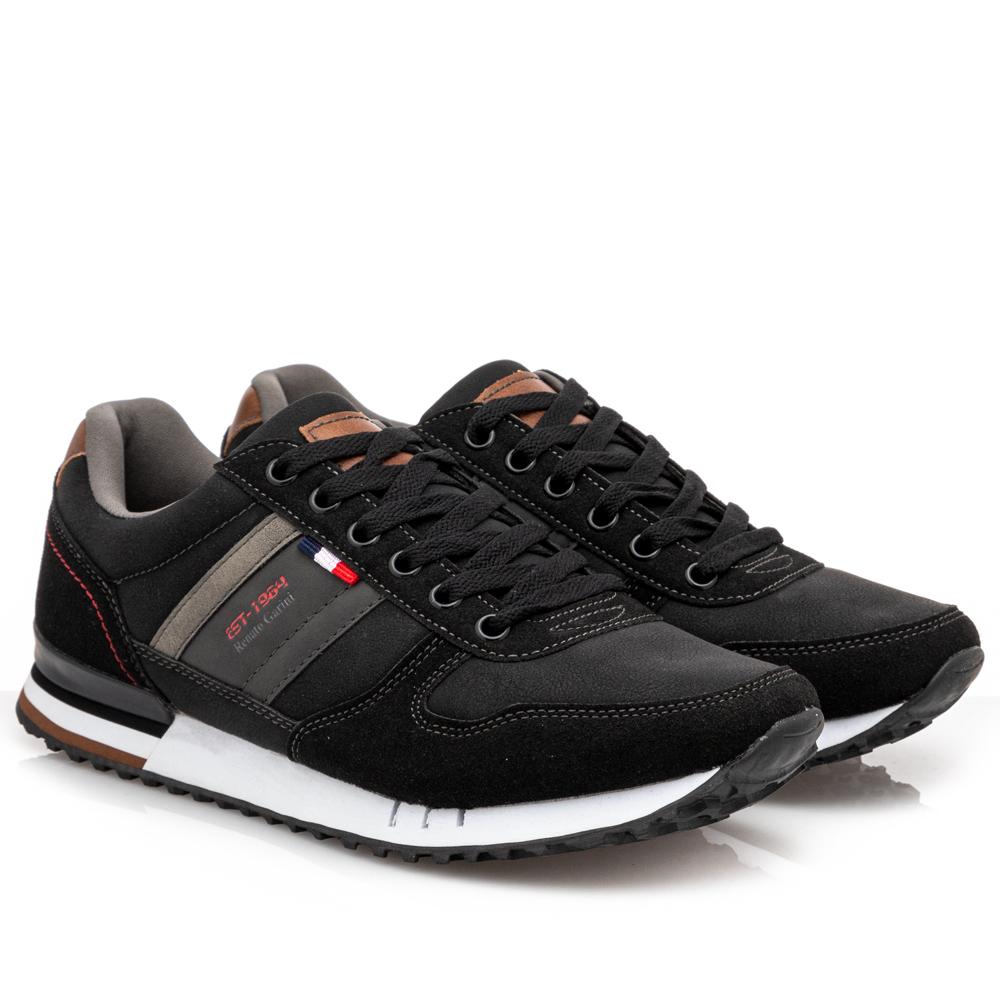 Ανδρικό sneaker Renato Garini μαύρο  κορδόνι L502Χ0812001.