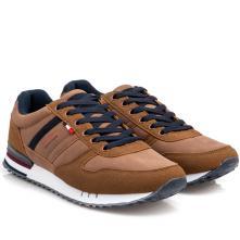 Ανδρικό sneaker ταμπά με  μπλέ κορδόνι. Renato Garini L502Χ0812531. 2