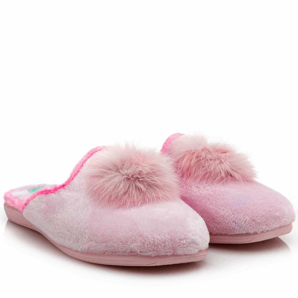 Γυναικεία παντόφλα φούντα ρόζ Antrin 139.5028