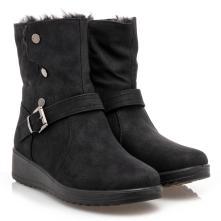 Γυναικείο μποτάκι γούνα μαύρο B-Soft 00304 2