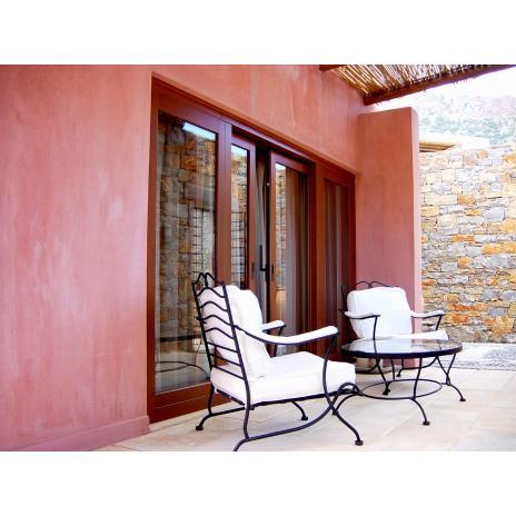 Balcony door recessed