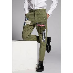 DSQUARED2 Cotton Chino Hockney Pants With Patch Details S74KB0239