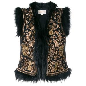 MICHAEL KORS BLACK WAISTCOAT WITH FAUX-FUR MF82HWY0S8