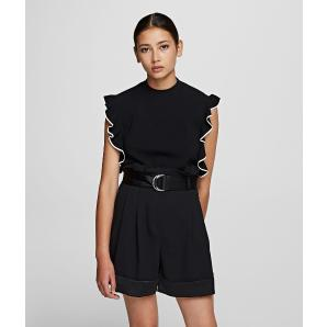 Karl Lagerfeld colour block ruffle knit cropped top 201W2004
