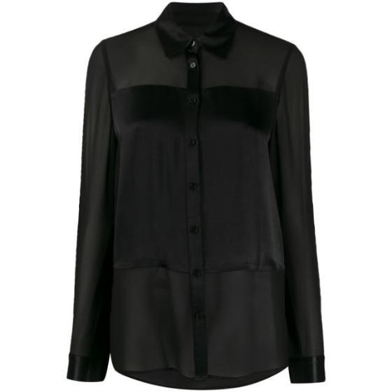 Michael Kors satin-panel chiffon blouse MH94LZ3CFB-0