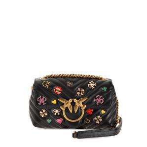 PINKO enamel pin embellished crossbody bag 1P21VE