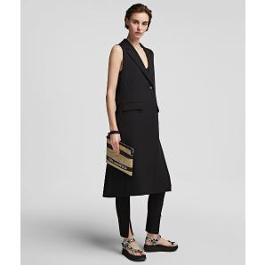 KARL LAGERFELD LONG-LENGTH GILET WITH PLEATED BACK 215W1404