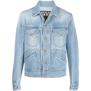 VERSACE jeans couture gold tone stitched denim jacket C1GWA92I