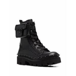 PINKO pouch-detail studded combat boots 1H20XT