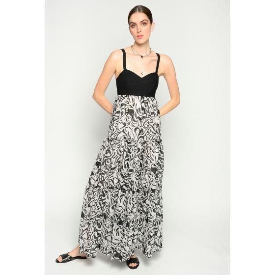 Pinko long japan print dress 1B14FC8038-ZBZ-1