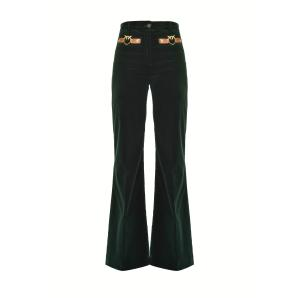 PINKO flared trousers in velvet with love birds 1B14NX
