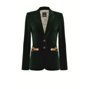 PINKO velvet blazer with love birds buckle 1B14NY