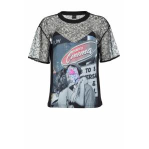 Pinko printed t-shirt with lace 1G14WR
