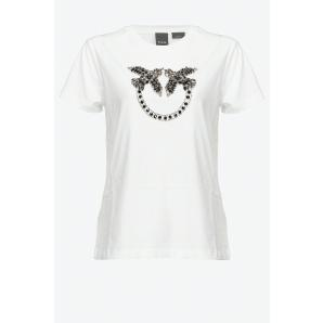 PINKO T-SHIRT WITH LOVE BIRDS EMBROIDERY
