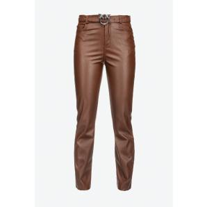 PINKO LEATHER-EFFECT TROUSERS WITH LOVE BIRDS BELT 1G16WU 7105