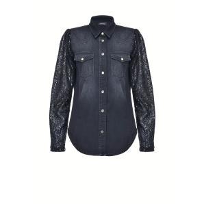 Pinko Denim Sequin Sleeves Shirt 1J10JC Y64W