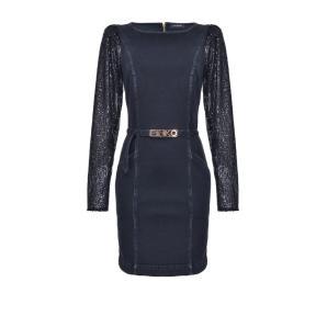 Pinko Denim Sheath Dress With Sequin Sleeves 1J10JD Y6FG