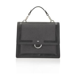 PINKO CAVIAR FLAP BAG IN CAVIAR-EFFECT LEATHER WITH INLAYS 1P21A8 Y5F4