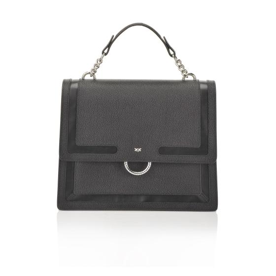 PINKO CAVIAR FLAP BAG IN CAVIAR-EFFECT LEATHER WITH INLAYS 1P21A8 Y5F4-0