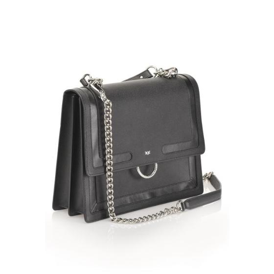 PINKO CAVIAR FLAP BAG IN CAVIAR-EFFECT LEATHER WITH INLAYS 1P21A8 Y5F4-1
