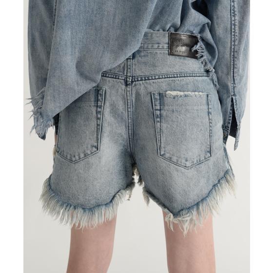 Oneteaspoon salty dog le wolves mid length denim shorts 21374-5