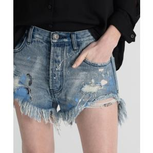 ONETEASPOON WOLVES MID LENGTH DENIM SHORTS 21461