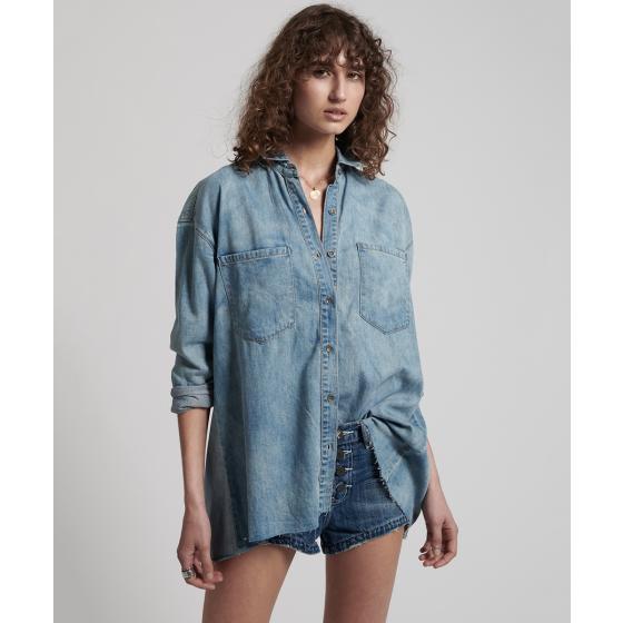 Oneteaspoon blue blossom priscilla split denim shirt 22036-0