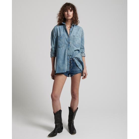Oneteaspoon blue blossom priscilla split denim shirt 22036-1